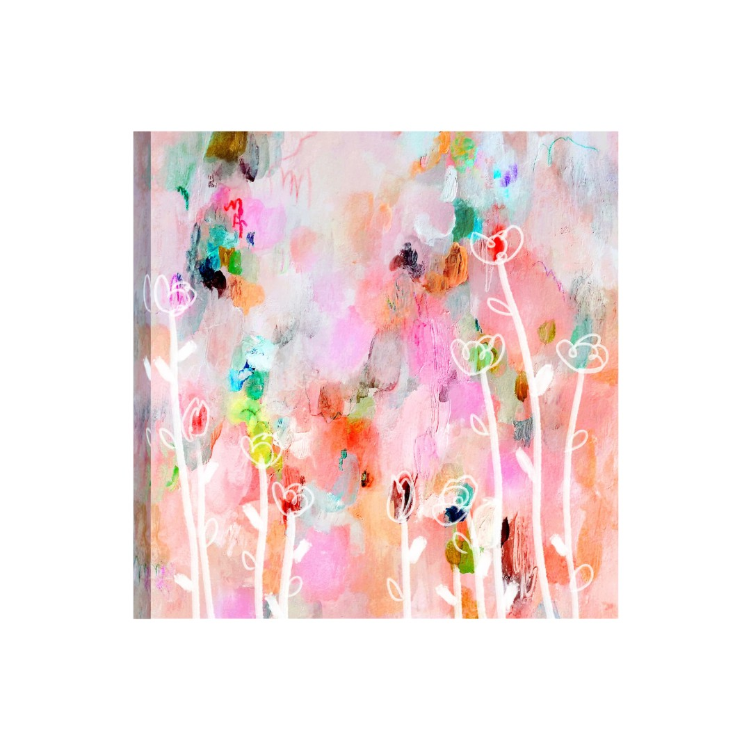 Watercolor floral painting Flowers Abstract Canvas WallPainting 38CmX38Cm