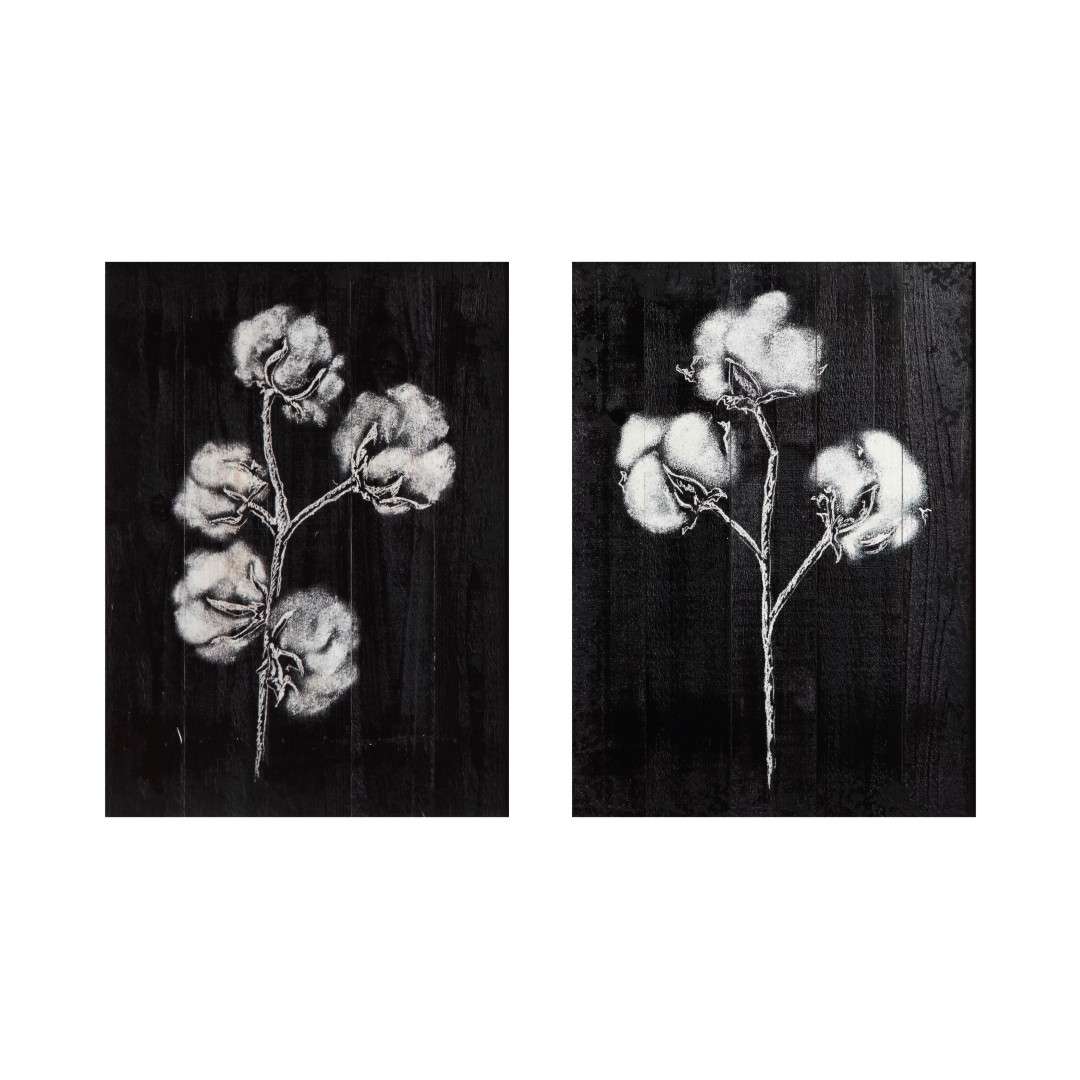 Flowers Black and White Wrapped Canvas  Bright wall Canvas Abstract WallPainting  40CmX55Cm each set