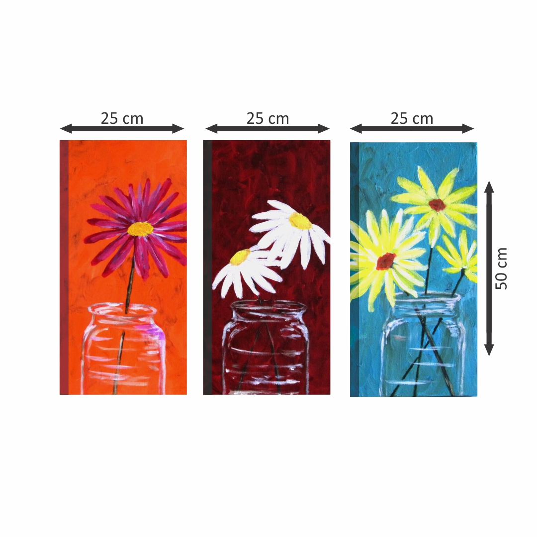 Beautiful Flowers in bottle  painting Modern Canvas wallart 2 Painting   25Cm X 50Cm each set