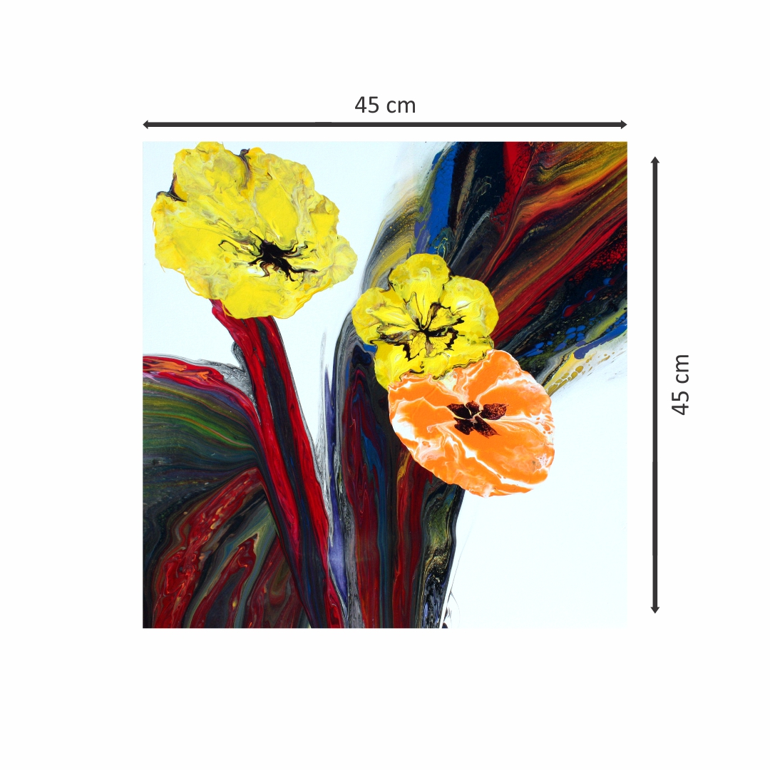 Colourful Flower bouquet  abstract   Modern Canvas wall art Painting   45Cm X 45Cm