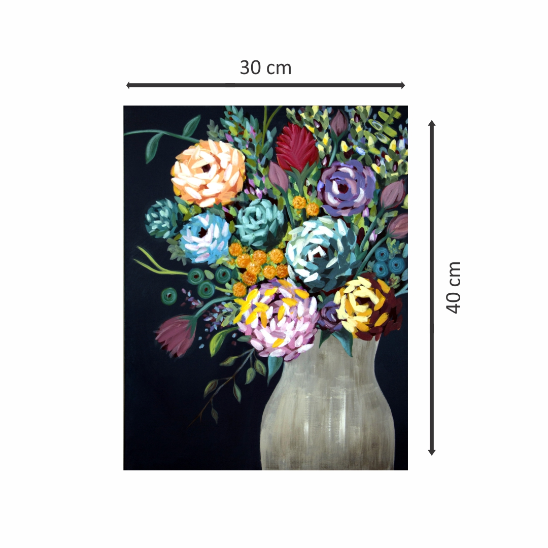 Colourful  vase container with flowers abstract   Modern Canvas wall art Painting   30Cm X 40Cm
