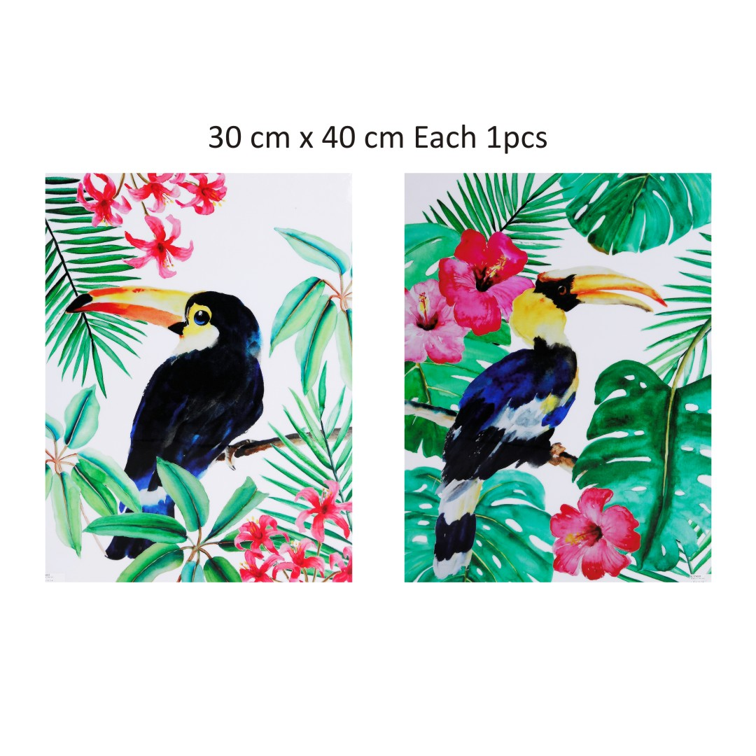 Colourful Flower with Birds Canvas Abstract WallPainting 30CmX40Cm each set