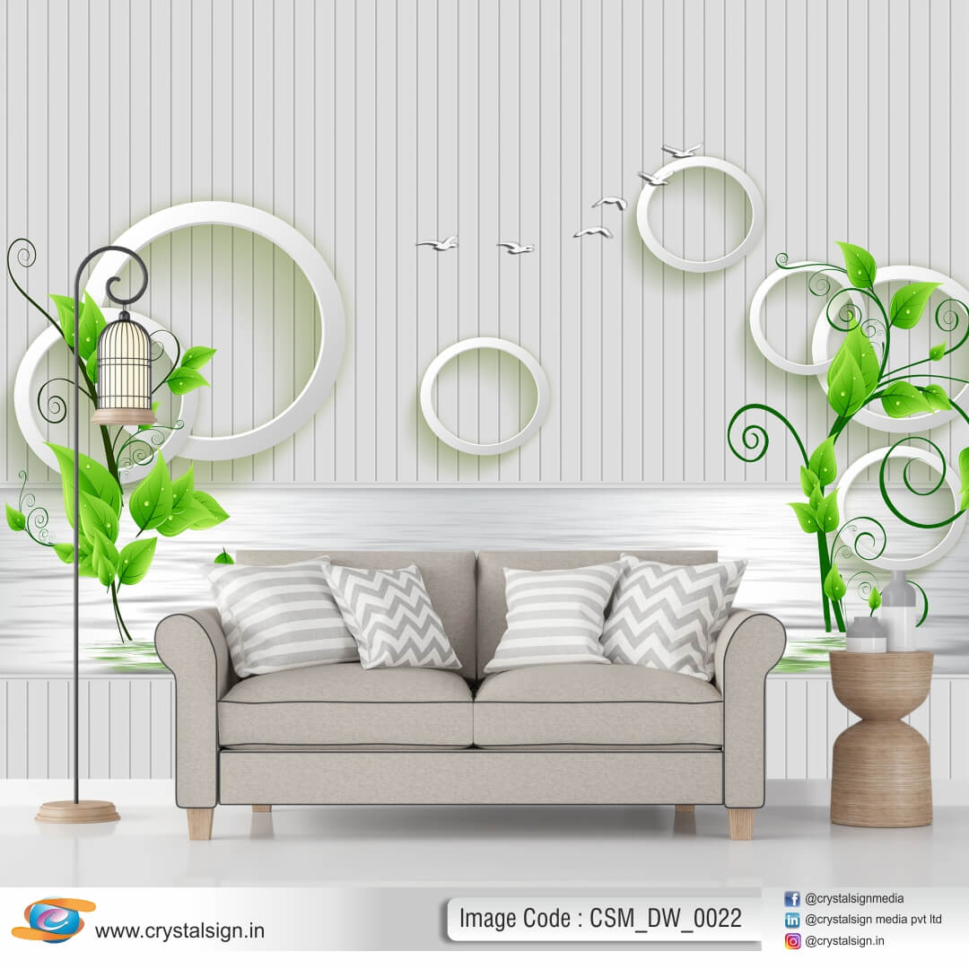 Green Tree with White Abstract 3D Wallpaper CSM DW 0022