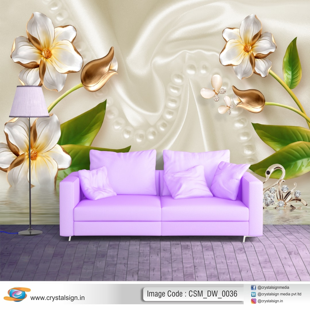 Golden Flowers Wall abstract 3D wallpaper CSM DW 0036