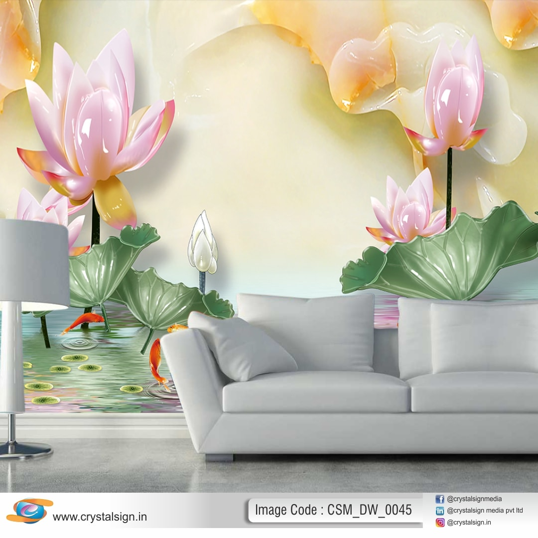 Magnolia Flowers HD Embossed 3D Wallpape CSM DW 0045