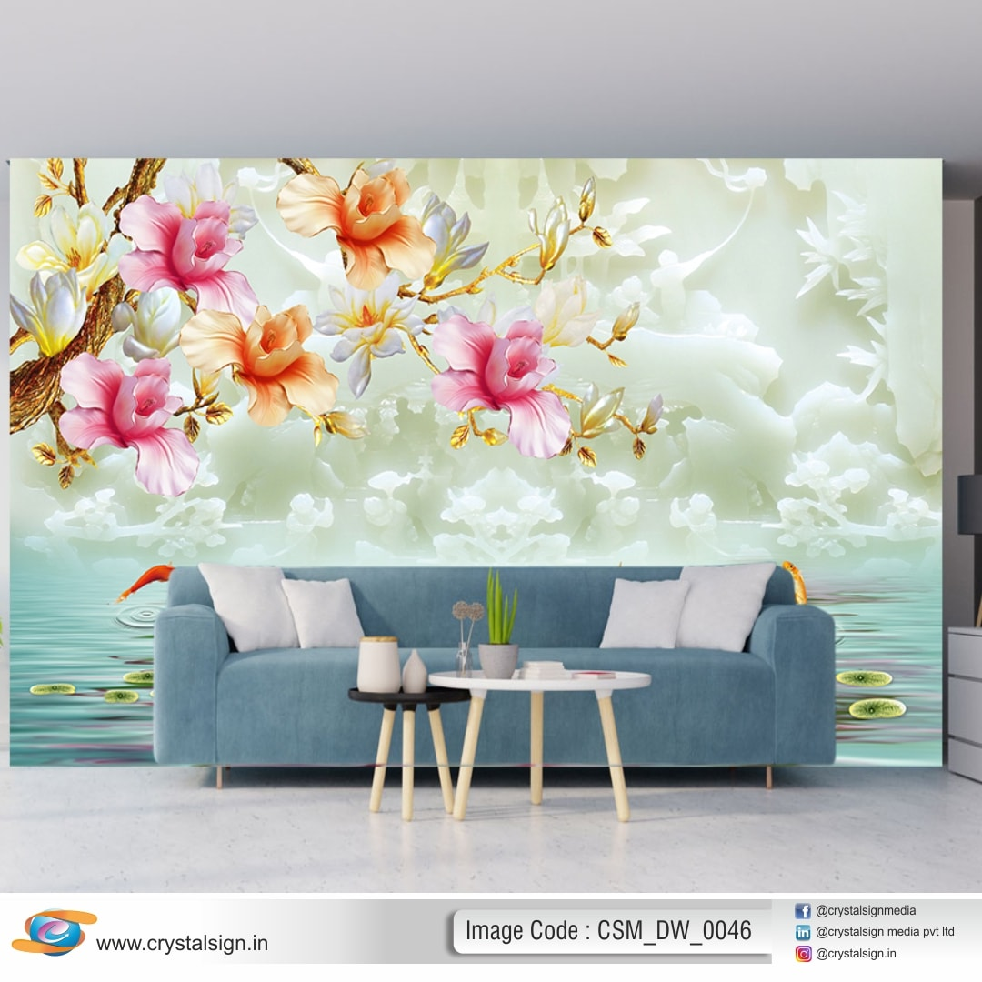 3D HD Abstract Flower Wallpaper CSM DW 0046