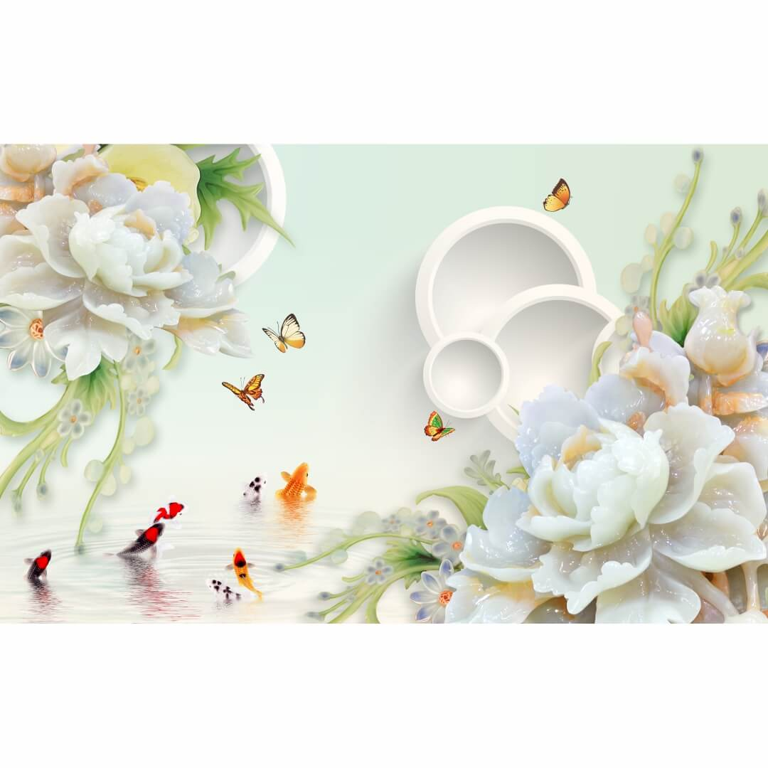 3D HD Butterfly with Beautiful Flowers Wall Decorative Wallpaper CSM DW 0047