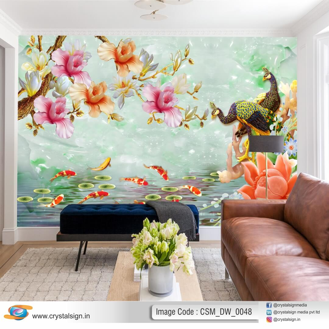 Beautiful 3D Abstract Flowers With Peacock Wallpaper CSM DW 0048