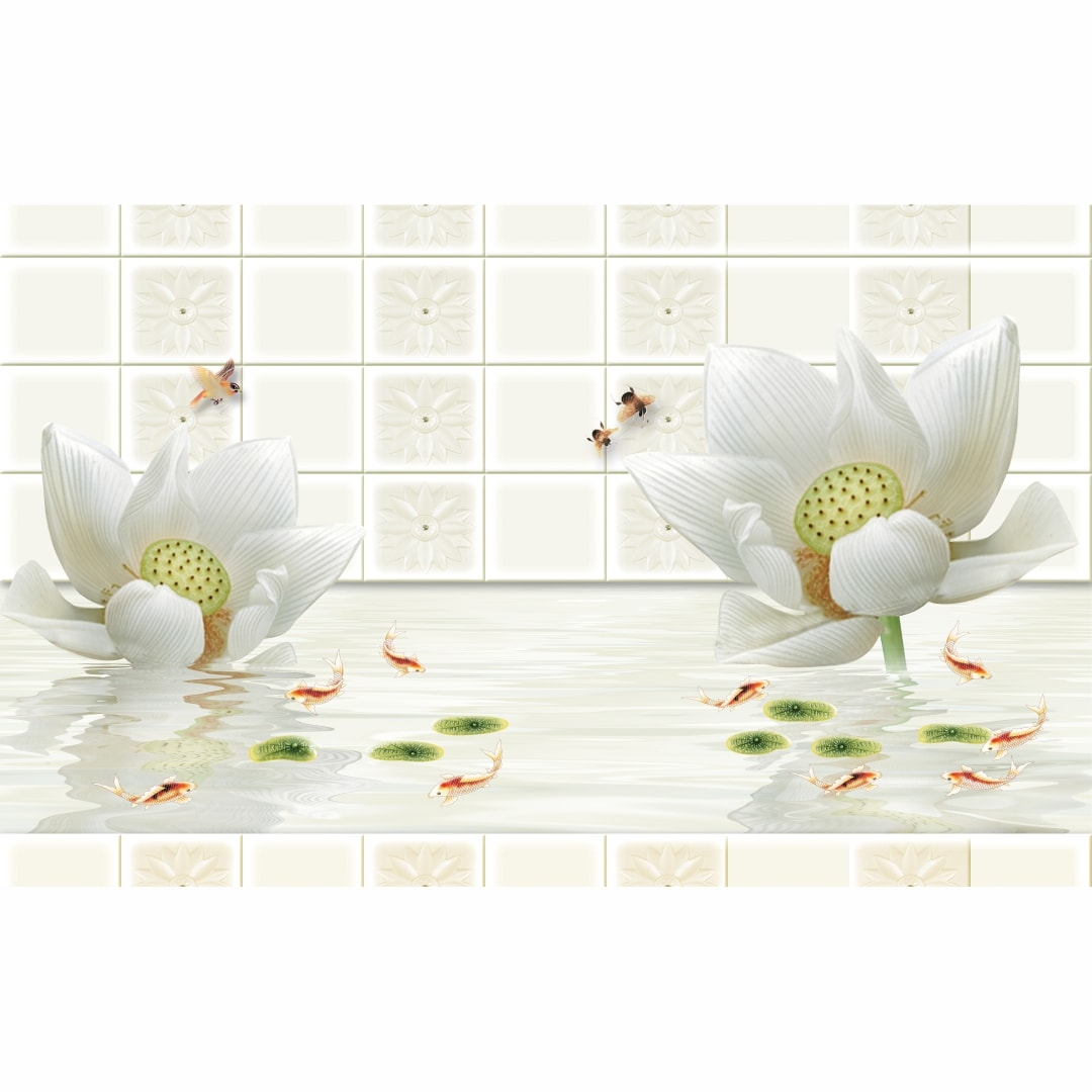 3D White Flowers Abstract Wallpaper CSM DW 0054
