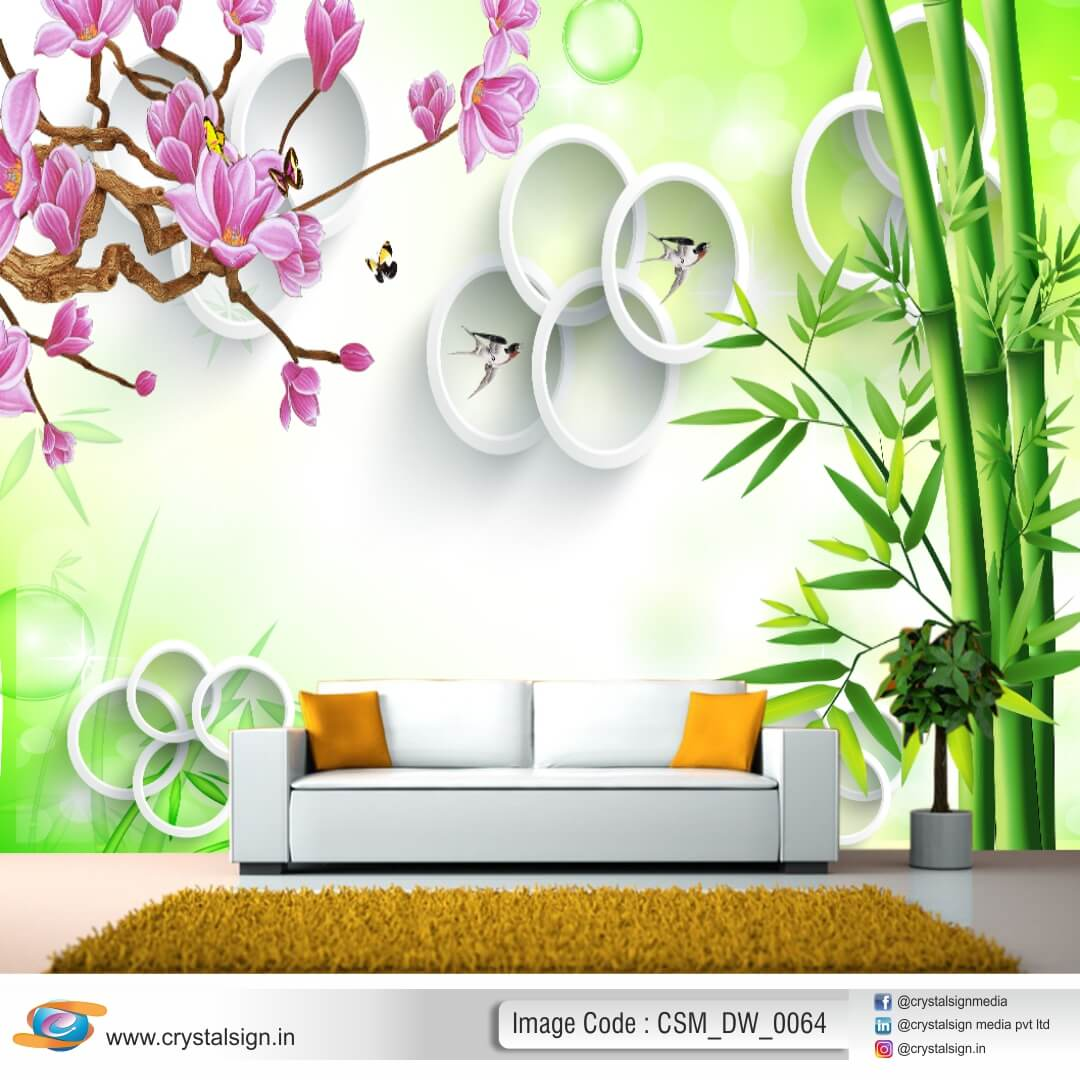 Beautifull Flowers with leaves wall art Living Room Wallpaper CSM DW 0064