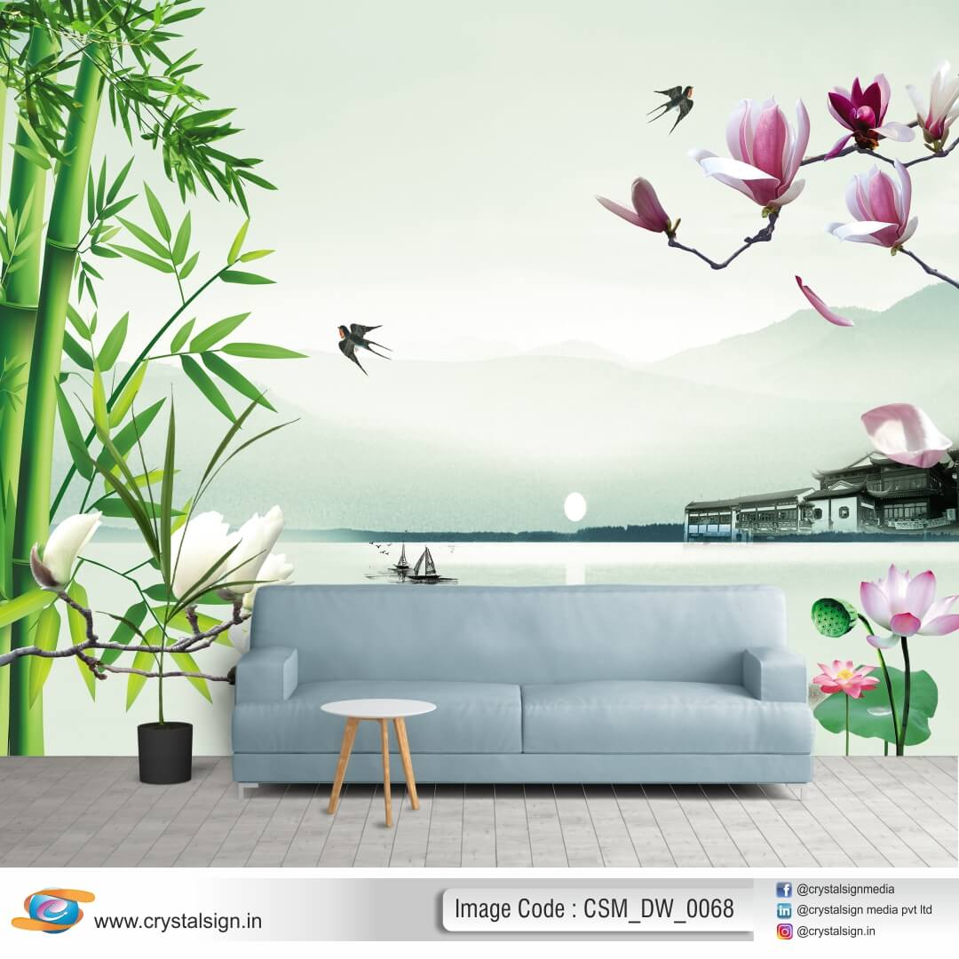 3D HD Beautifull leaf wall art Living Room Wallpaper CSM DW 0068