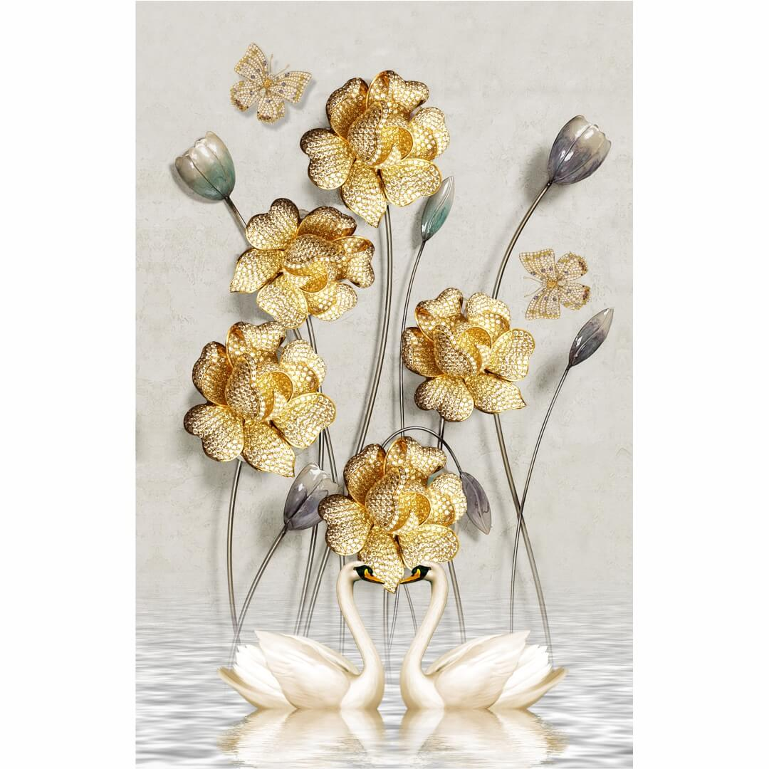 3D HD Flower with Beautiful Duck wall art Living Room Wallpaper CSM DW 0082