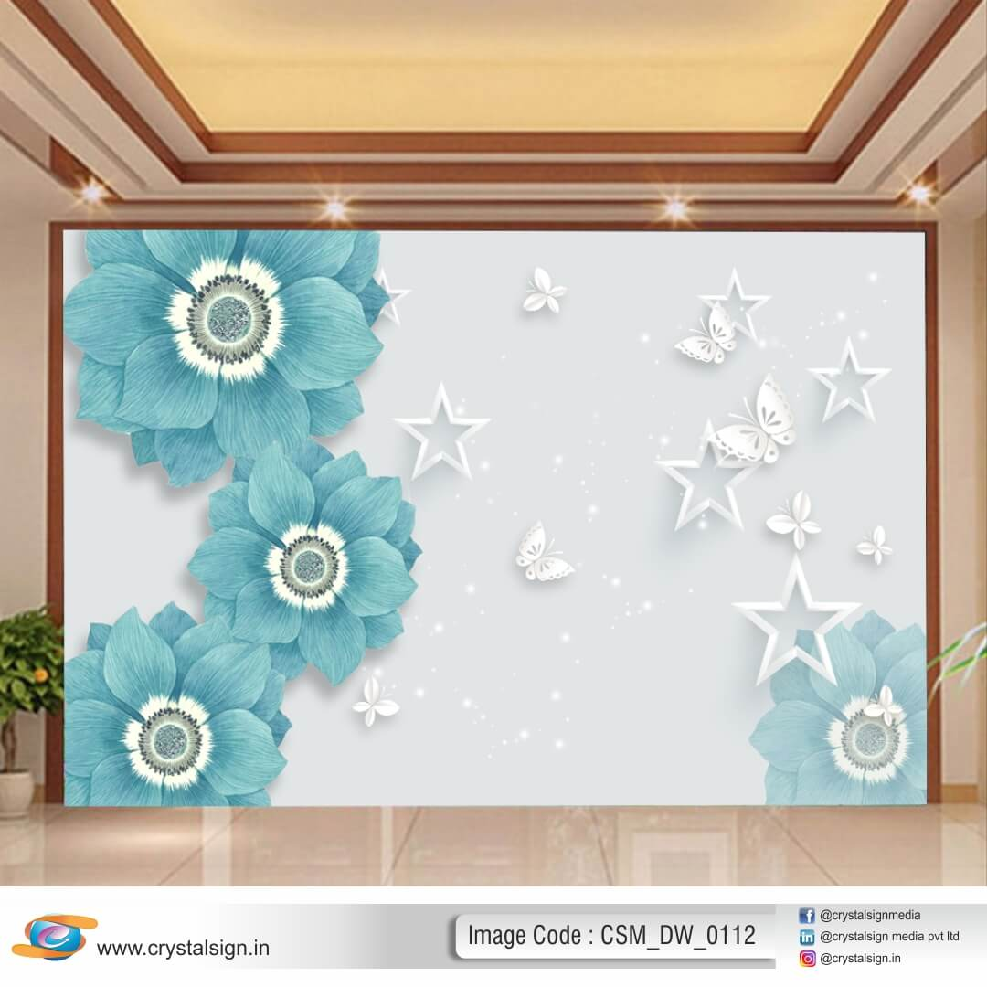 Beautiful Blue 3D HD wall art Flowers Living Room Wallpaper CSM DW 00112