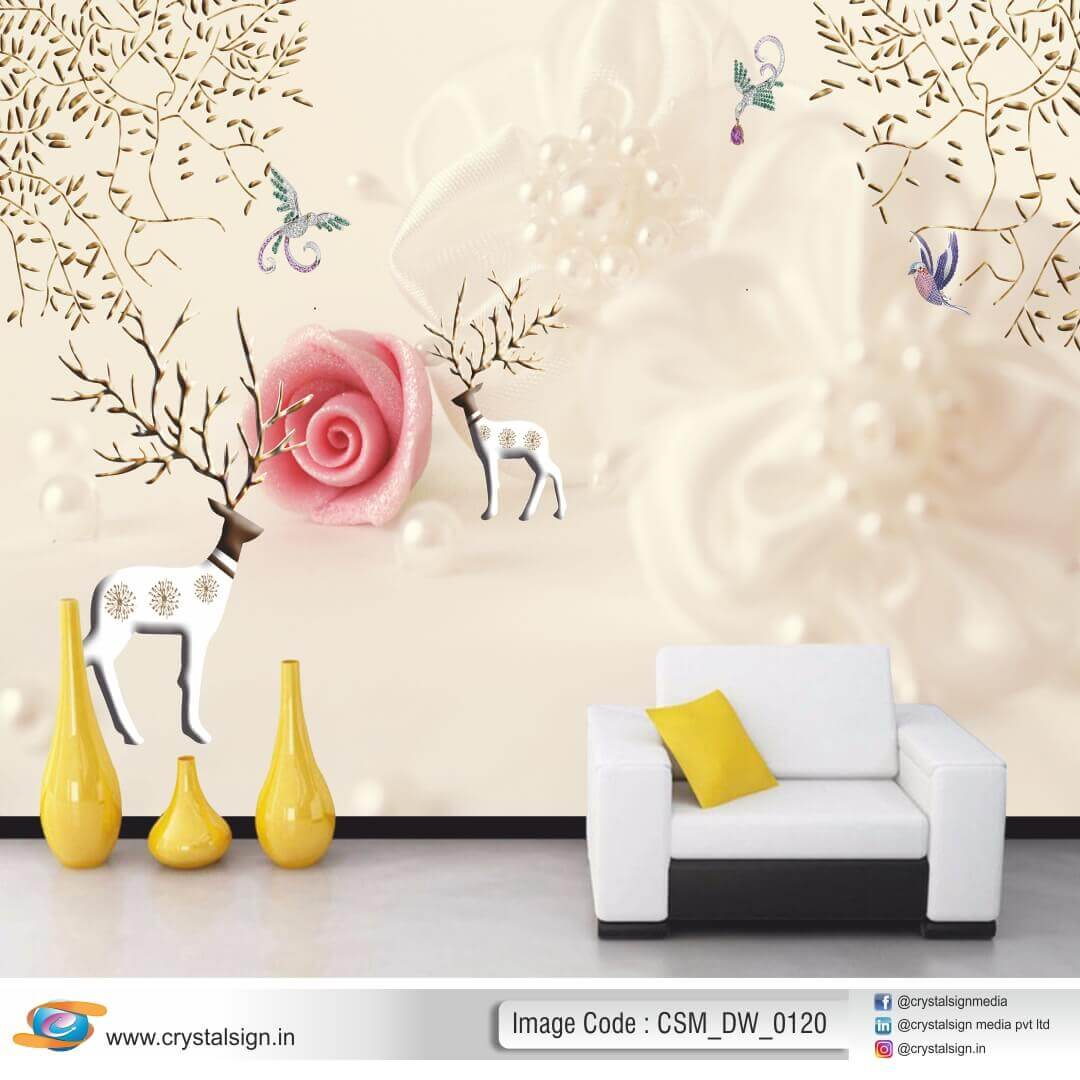 3D HD Beautiful Flowers wall art 2 Living Room Wallpaper CSM DW 00120
