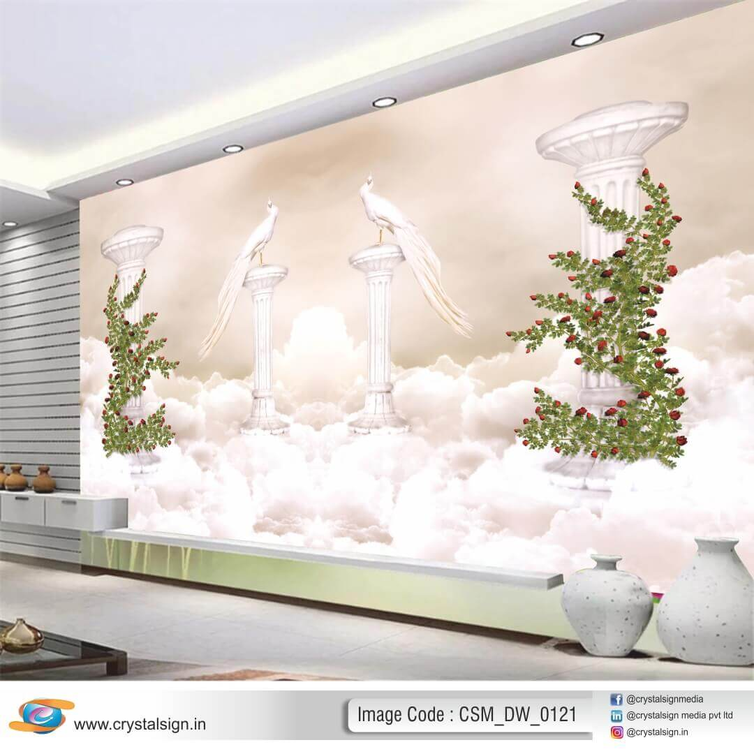3D HD Snow Day with Beautiful Flowers wall art 2  Living Room Wallpaper CSM DW 00121