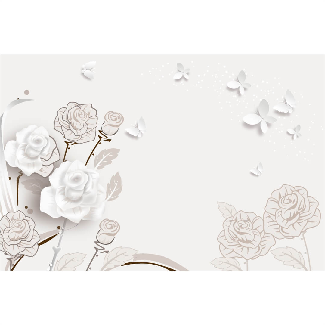 3D HD White Flowers with Butterfly Background  wall art Living Room Wallpaper CSM DW 00126