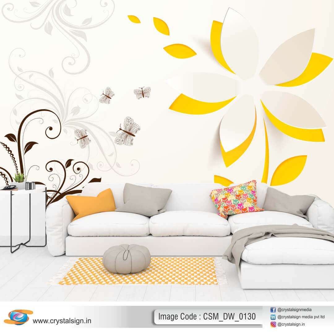 3D HD Beautiful Flowers wall art Living  Room Wallpaper CSM DW 00130