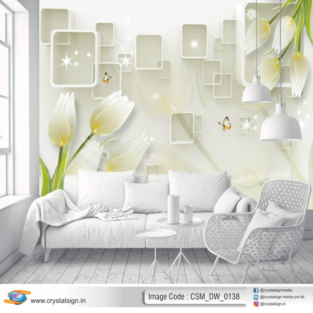 3D HD Abstract wall art Floral Wallpaper CSM DW 00138