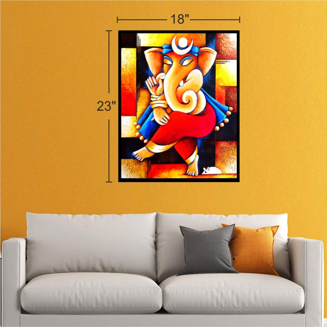 Abstract Ganesha  Colourful     Wall Painting 18 Inch X 23 Inch
