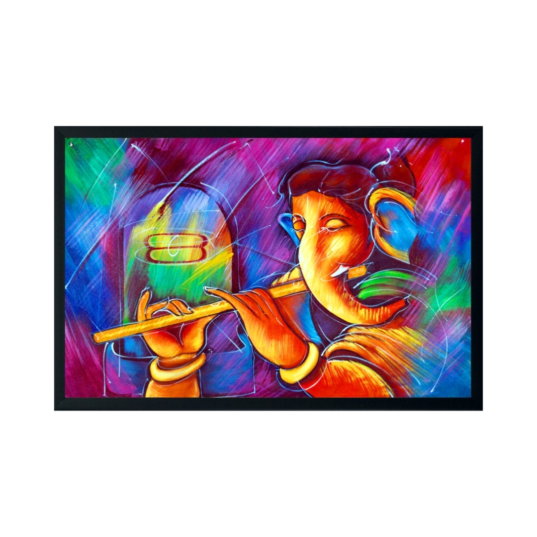 Abstract Ganesha  2 Colourful     Wall Painting 23 Inch X 18 Inch