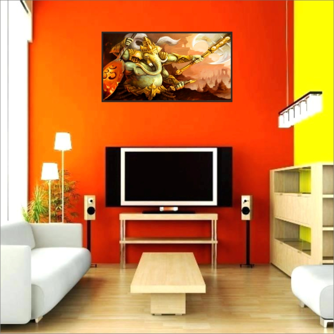 Lord Ganesha Wall Colourful     Wall Painting 23 Inch X 14 Inch