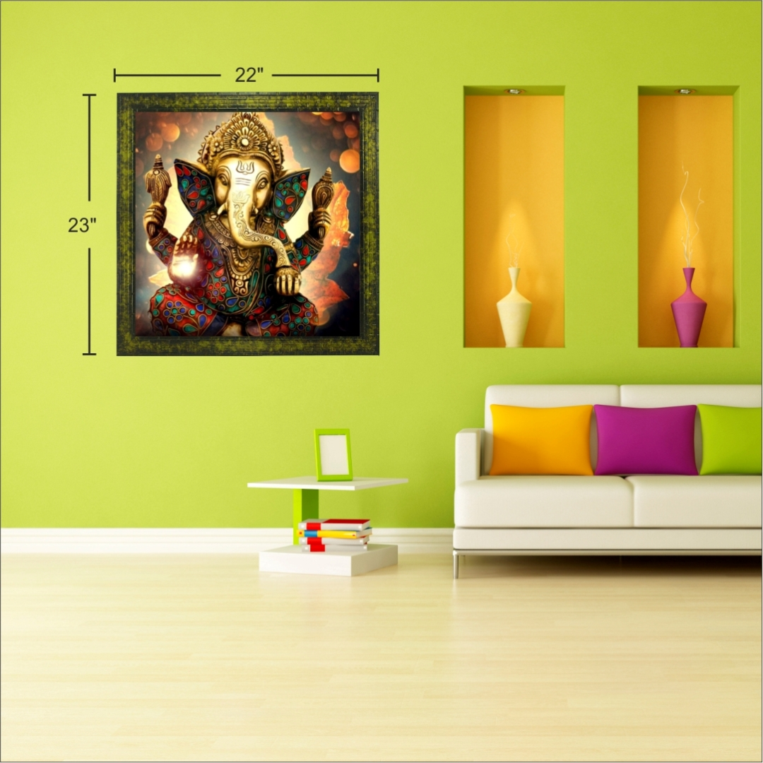 Lord Ganesha  Peaceful Wall Colourful     Wall Painting 22 Inch X 23 Inch
