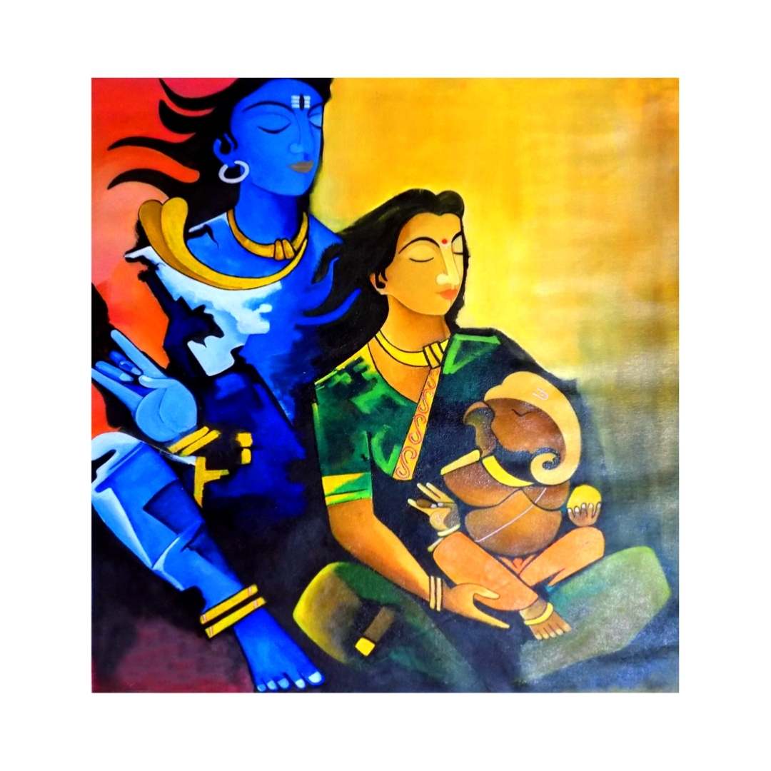Lord Shri Ganesha family with lord shiva Peaceful Wall Colourful Wall Painting 18 Inch X 23 Inch