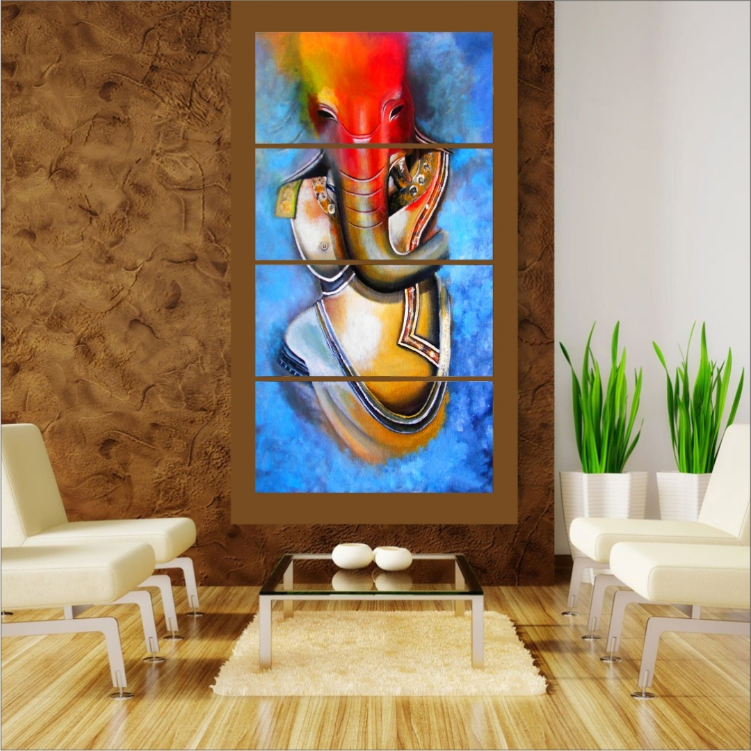 Lord Shri  Ganesha  Colourfull  Peaceful Wall Painting 18 Inch X 9 Inch Each Set