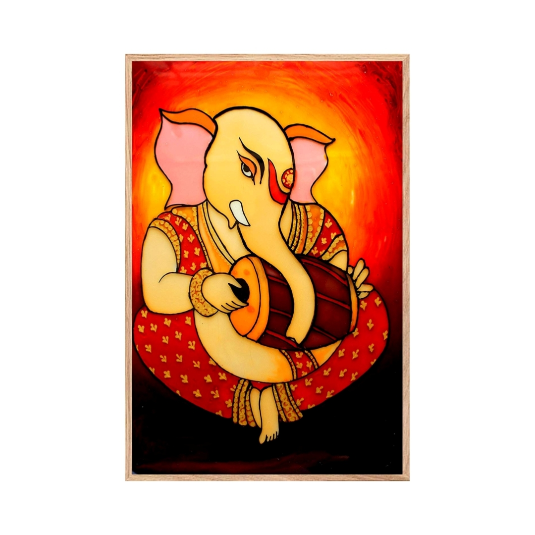 Abstract Lord   Ganesha  Colourfull  Wall Painting  16 Inch X 23 Inch