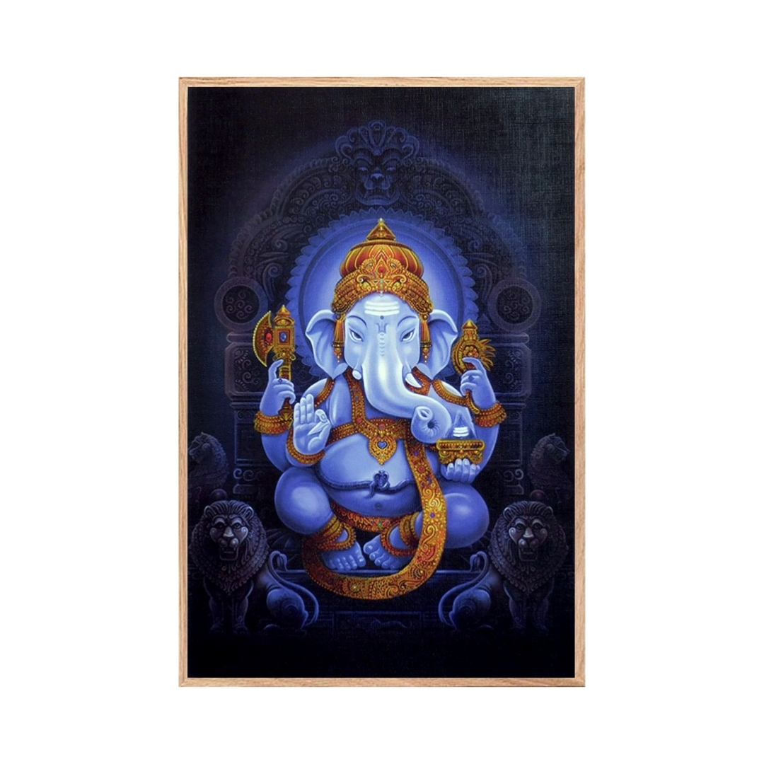 Shri  Lord   Ganesha  Colourfull  Background  Wall Painting  16 Inch X 23 Inch