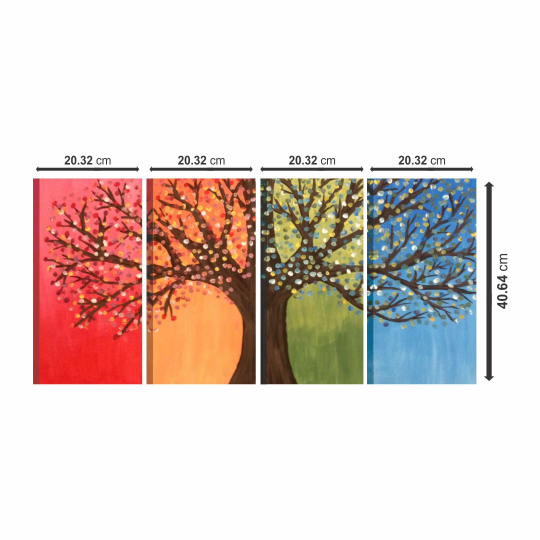 Elegant Modern Art Multi color Tree Canvas real cloth wall Painting 32 inch x 16 inch Canvas 16 inch x 32 inch Painting