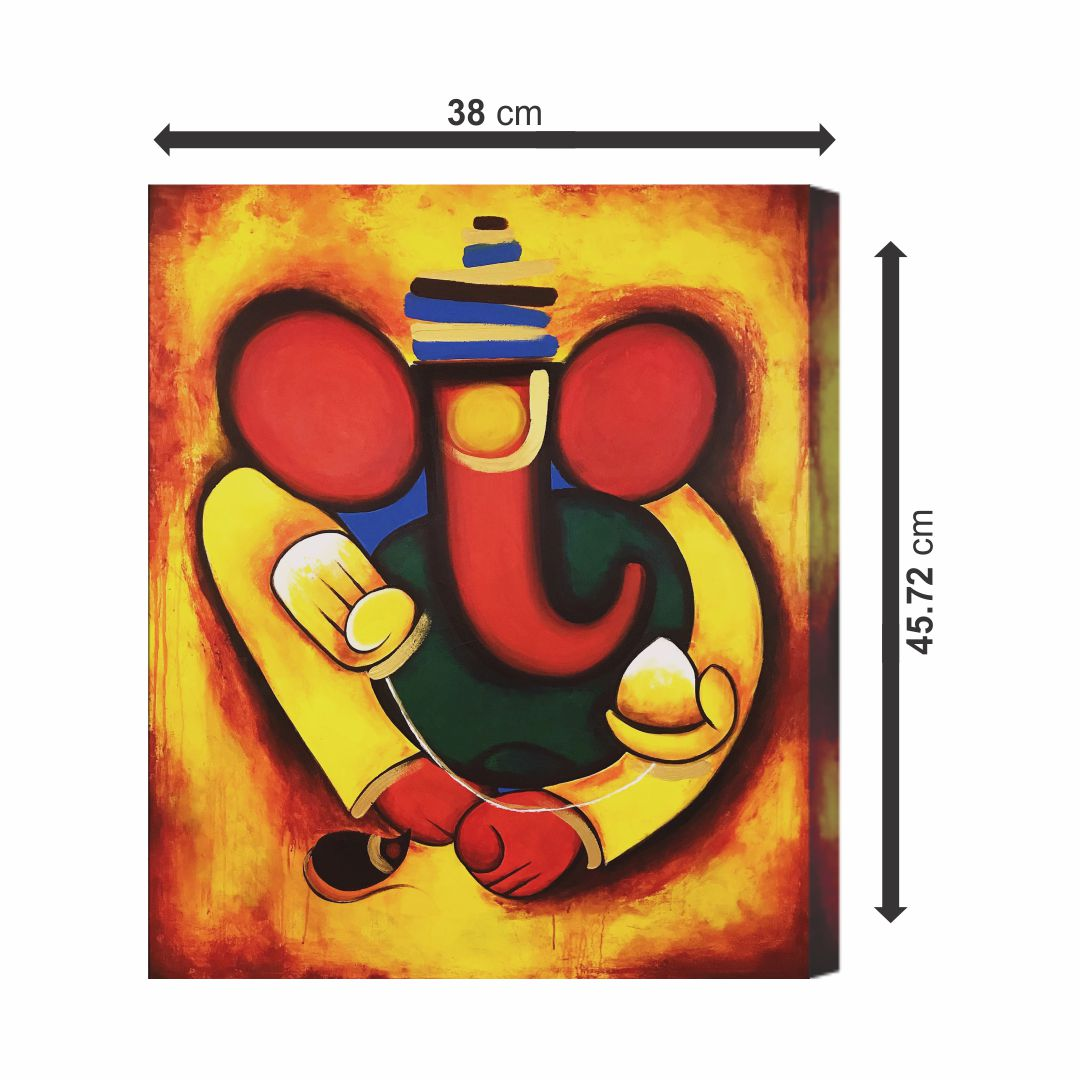 Ganesha Beautiful Modern Art Canvas real cloth wall Painting Canvas 18 inch x 15 inch Painting