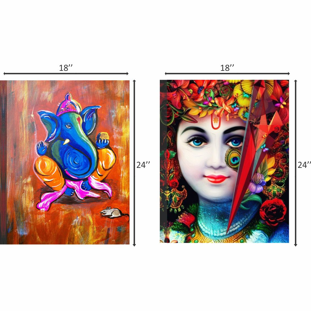 Colourfull  Ganesha and Krishna  Wall Digital Painting 18 InchX24 Inch Each Panel