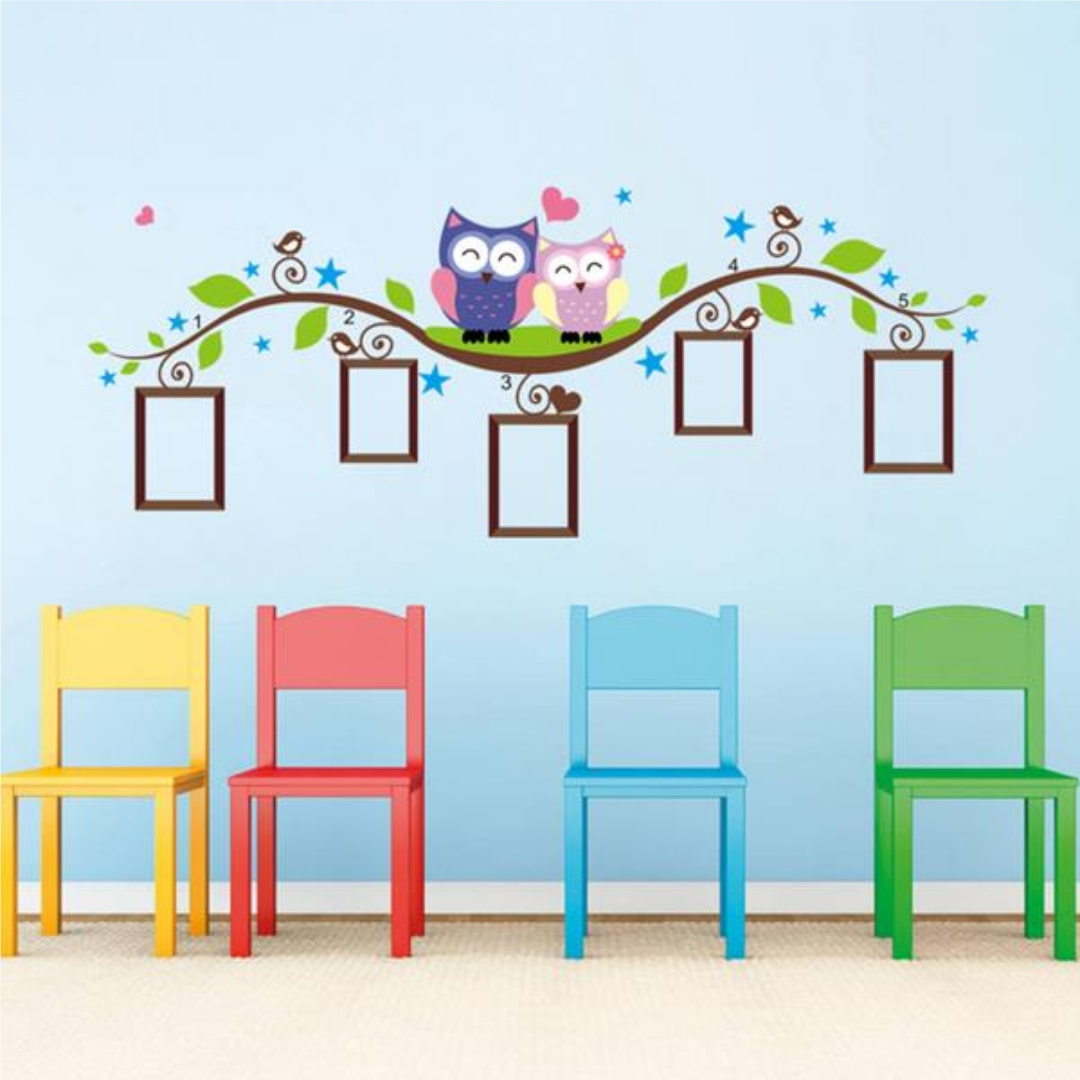 Owl Photo frame wall Sticker 60InchX24Inch