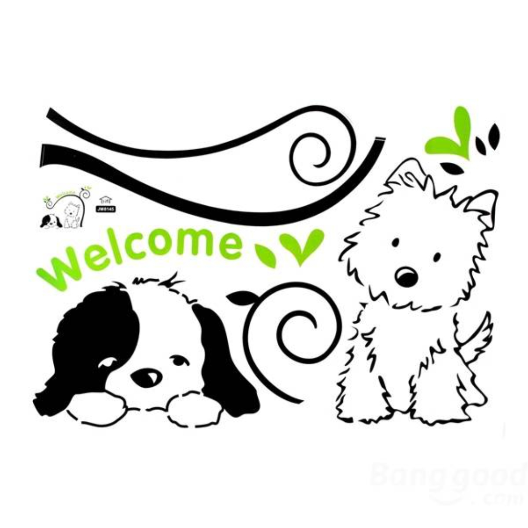 Welcome Cute Dog and cat wall Sticker 24InchX24Inch