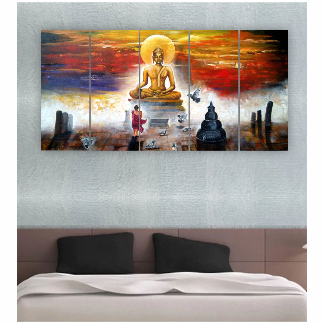 God Buddha Colourfull Background  Wall Digital Painting  9.6 InchX24 Inch Each Panel