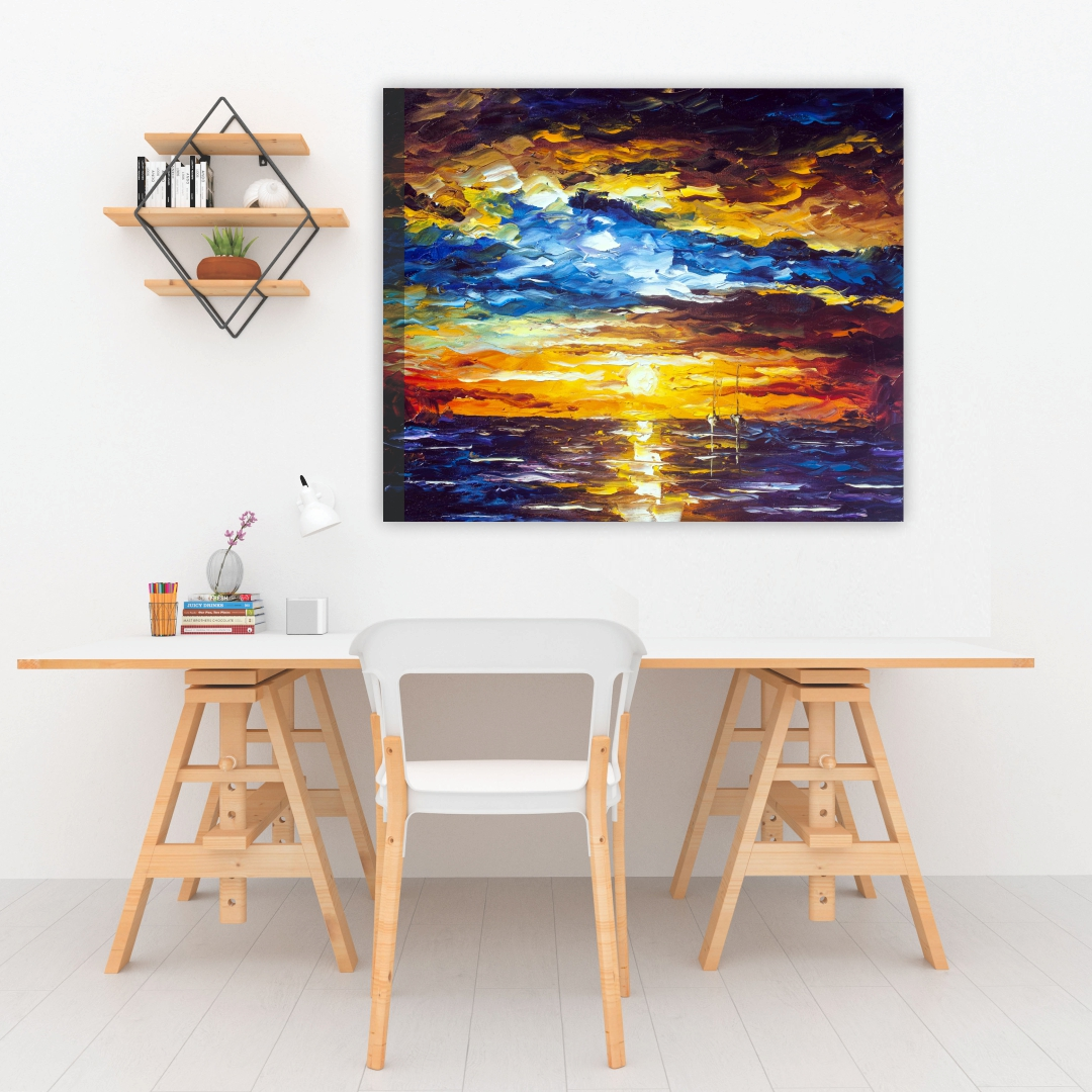 Beautiful  Sunset painting  Modern Canvas wallart Painting   45Cm X 38Cm