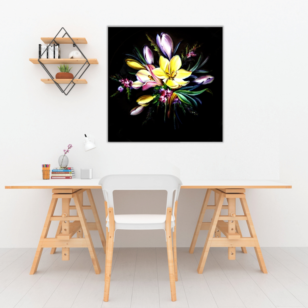 Colourful  flower abstract Black Background  Modern Canvas wallart Painting   50Cm X 50Cm