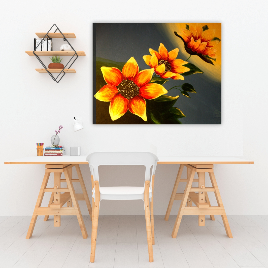 Colourful  Yellow flower abstract    Modern Canvas wallart Painting   60Cm X 45Cm