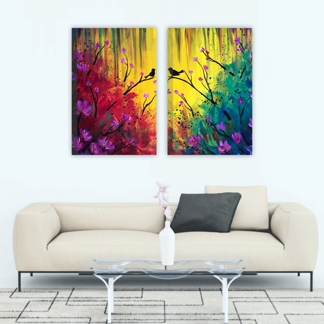Colourful  Birds in stay leaf easy  flower  abstract   Modern Canvas wallart Painting each set   30Cm X 45Cm