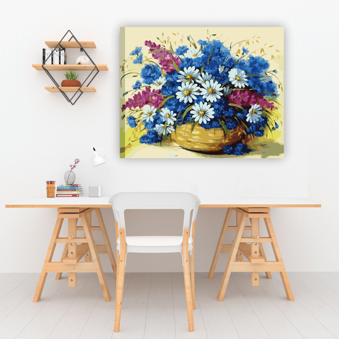 Canvas Flowers and Blue Porcelain Art abstract  Modern Canvas wall art Painting  50Cm X 40Cm