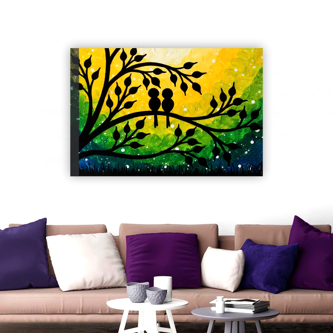 family birds painting Art 2 abstract Modern Canvas wall art Painting 45Cm X 30Cm