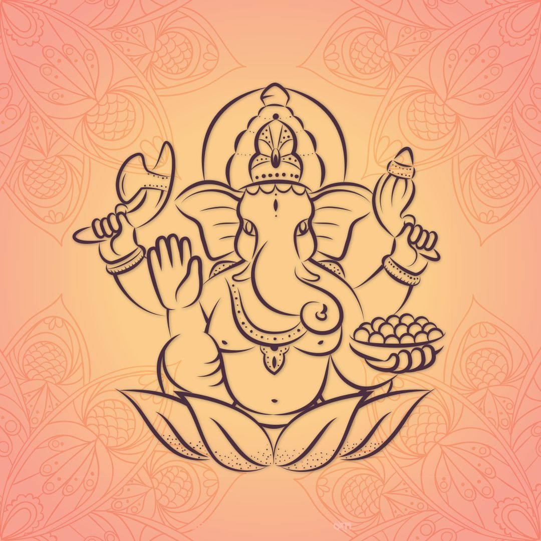 Ganesha Abstract Design Beautiful Wall Painting 20 inch x 20 inch