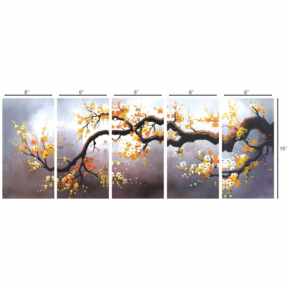 Beautiful Tree Branch Leaves Yellow  Canvas Painting, 6Inch X 15 Inch Each Set