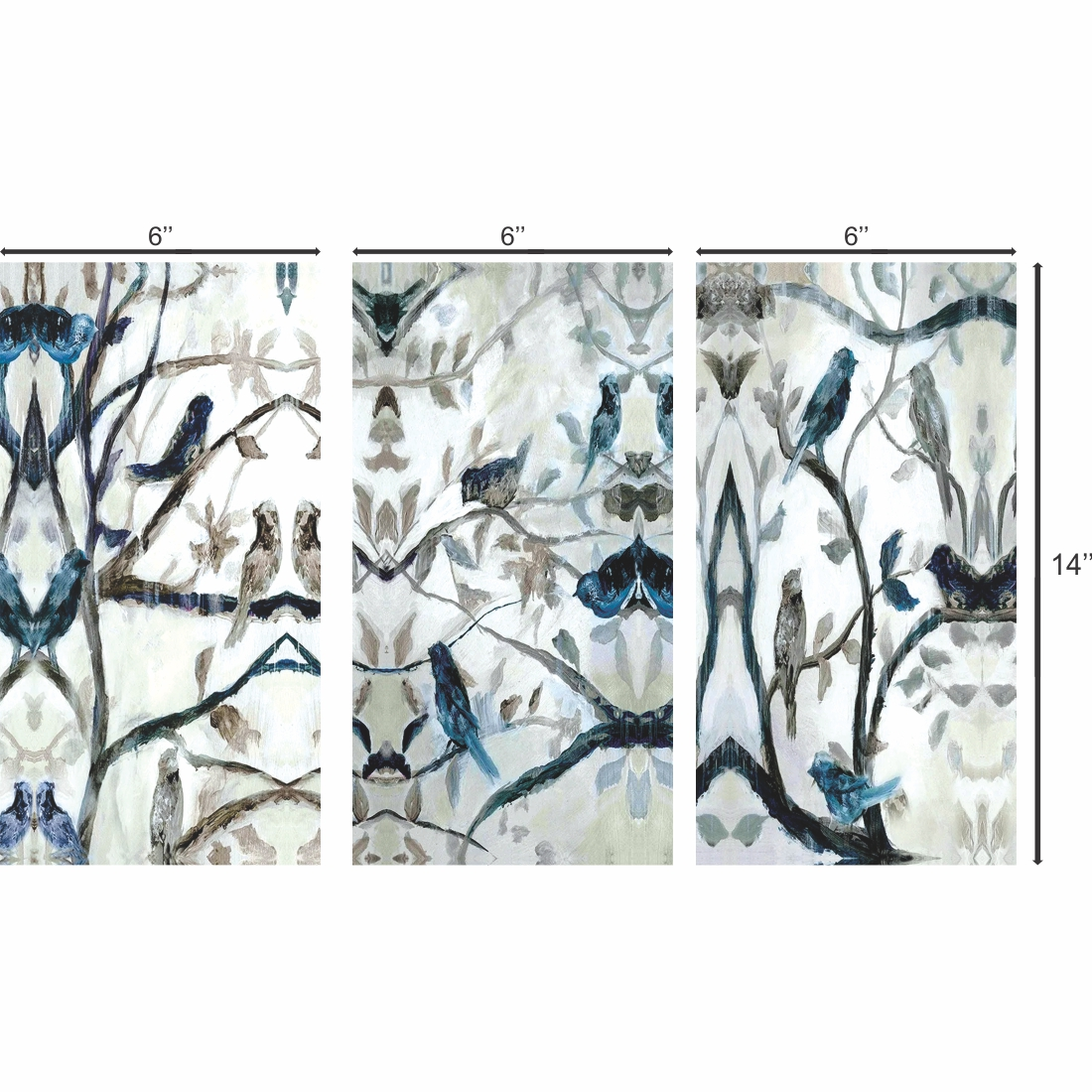 Canvas Beautiful Birds Sit On Branch  Leaves Painting, 6Inch X 14 Inch Each Set