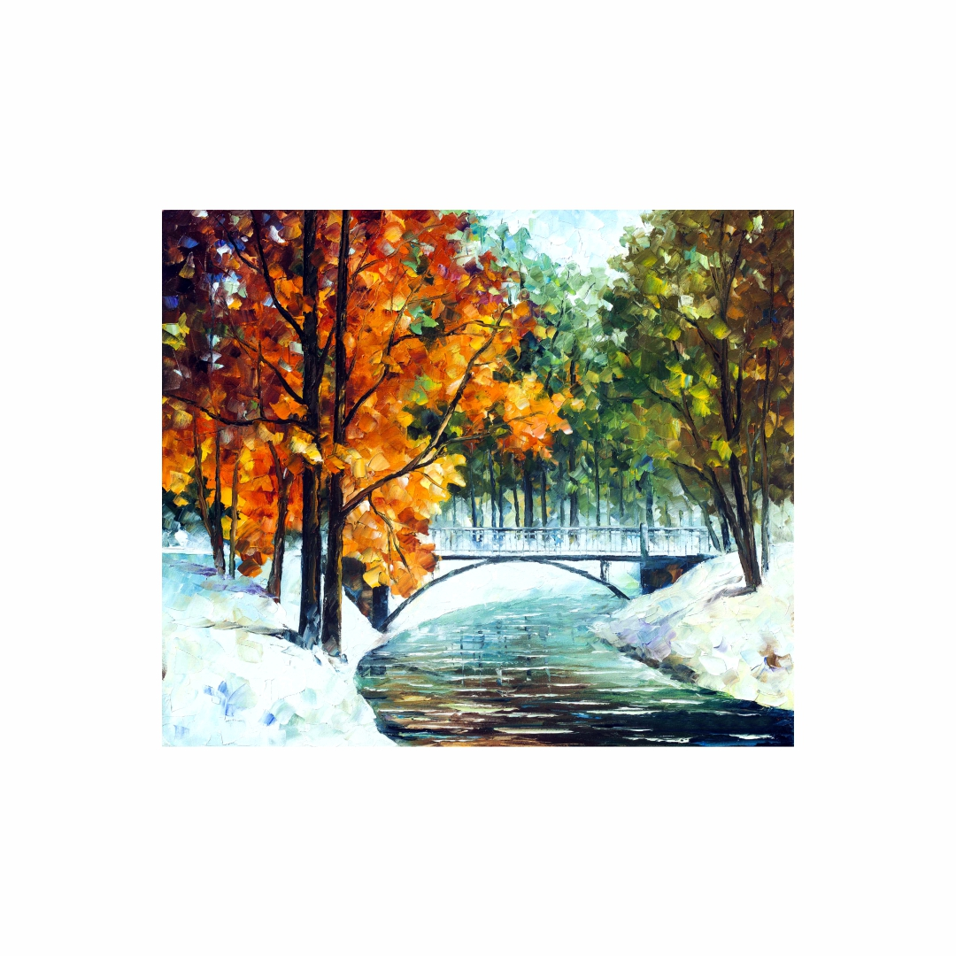 Colourful  autumn's end leonid  afremov abstract   Modern Canvas wall art Painting   50Cm X 43Cm