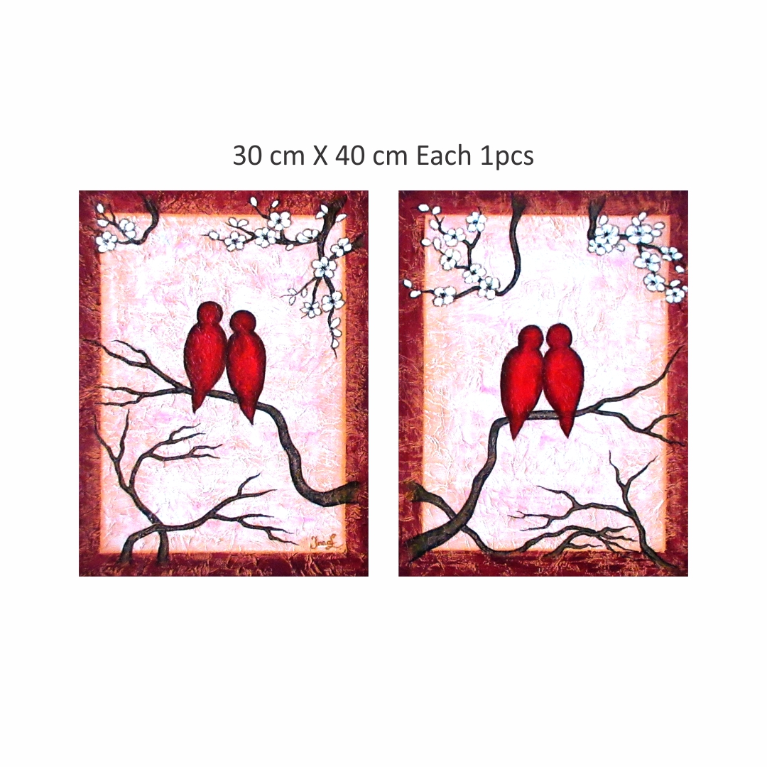 Canvas painting for birds Art 2  abstract  Modern Canvas wall art Painting  30Cm X 40Cm  each set