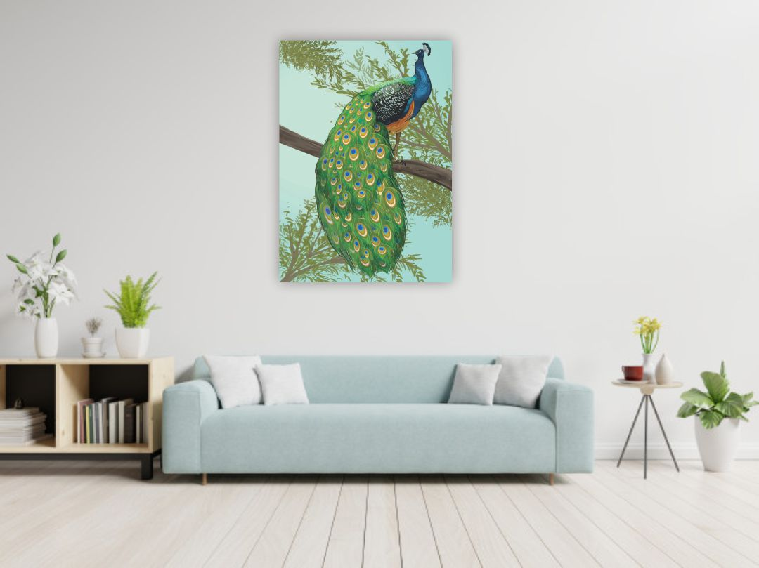 Beautiful hand drawn peacock Wall Painting 16 inch x 24 inch